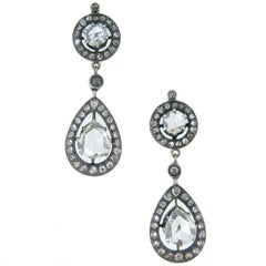 Victorian Rose Cut Diamonds Cluster Pear Shape Drops Gold and Silver Earrings