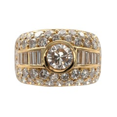 Certified 1 Carat Diamond and Gold Cocktail Ring