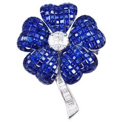 Sapphire Flower Brooch
