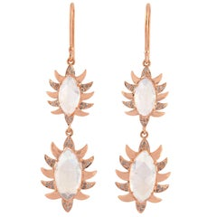 Claw Double Drop Marquise Moonstone and Diamonds Earrings