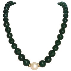 Green Agates, Tsavorites and Freshwater Pearl on Rose Gold Beaded Necklace