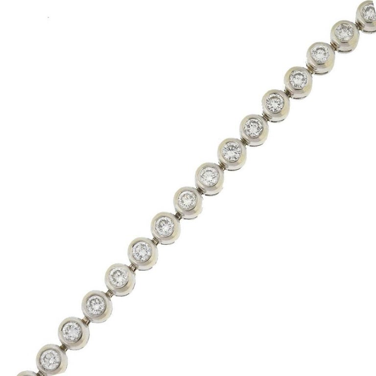 14 Karat White Gold Bezel Set Diamond Tennis Bracelet