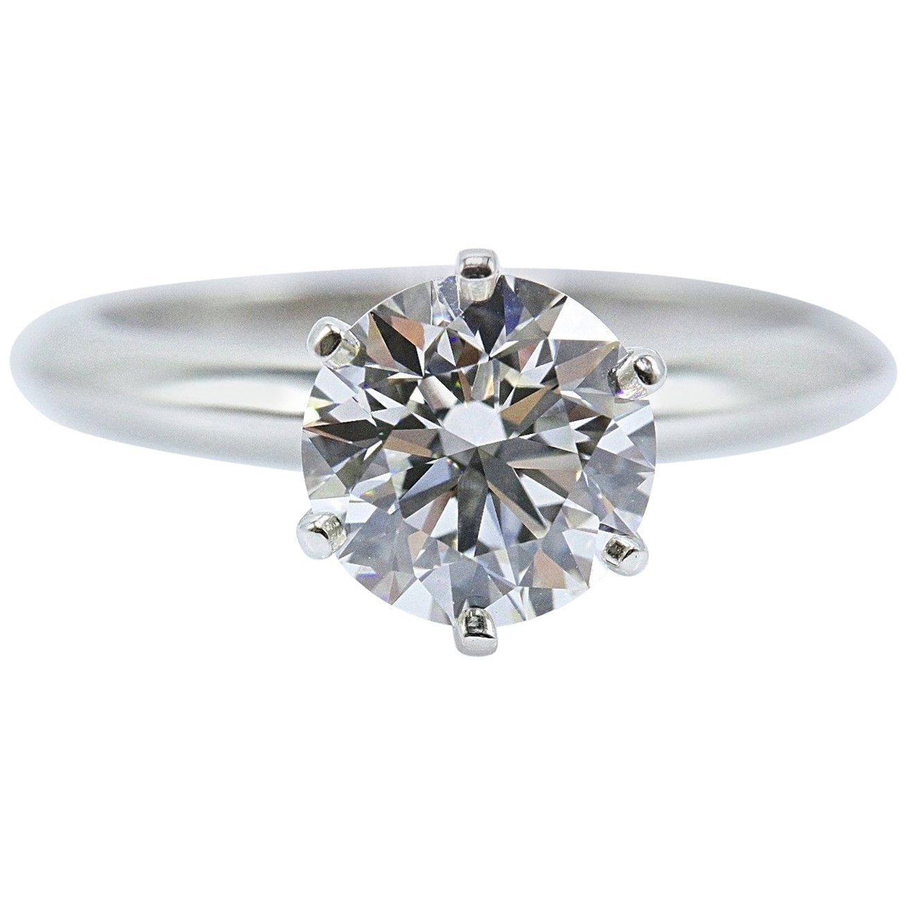 Tiffany & Co. Round Brilliant Diamond Engagement Ring 1.68 Carat G VVS2 Platinum