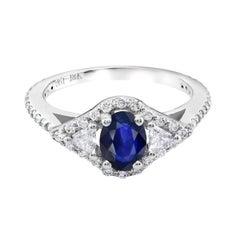 18k White Gold 1.00 Carat Sapphire Diamond Cocktail Cluster Ring