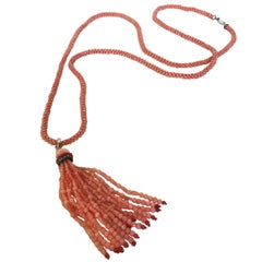 Pink Coral Necklace with Two-Tone Coral Diamond Encrusted Tassel by Marina J.