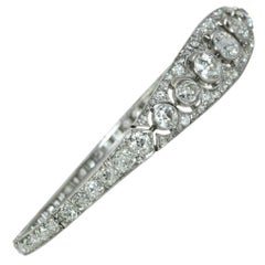 Art Deco French Platinum 9.80 carat Diamond Bangle Bracelet