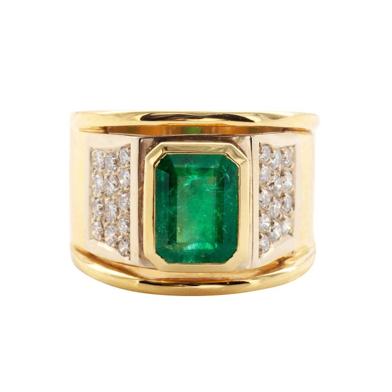 Wide Emerald and Diamond Gold Cocktail Ring