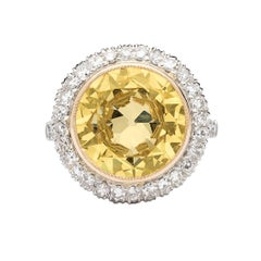 Stunning GIA 6.18 Carat Fancy Light Yellow Diamond Ring
