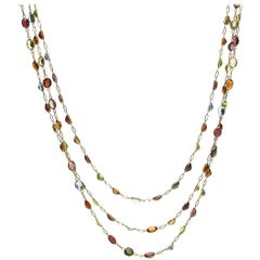 Multi Gem Set Gold Necklace