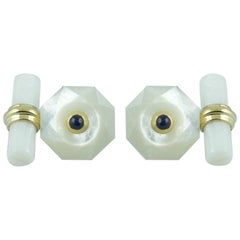 18 Yellow Gold Mother-of-Pearl with Sapphires Cufflinks