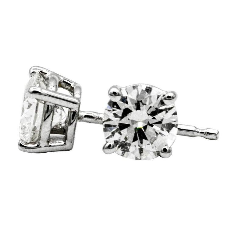 91 Carat Diamond Stud Earrings In 14 Karat White Gold For