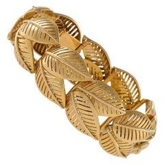 French 1950s Gold Leaf Link Bracelet