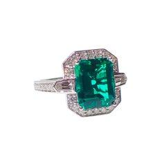 18 Karat Gold Ring 2.83 Carat Chatham-Created Emerald and 0.70 Carat of Diamond
