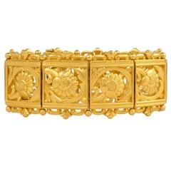 Art Nouveau Gold Panel Link Bracelet