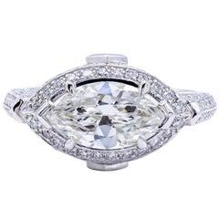 David Rosenberg 1.83 Carat Marquise GIA Halo Platinum Diamond Engagement Ring