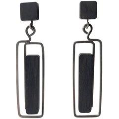 Milton Cavagnaro Ebony Sterling Silver Mid-Century Modernist Earrings