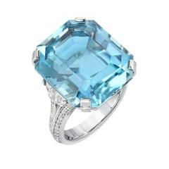 Aquamarine Diamond Platinum Ring Emerald Cut 20.37 Carat