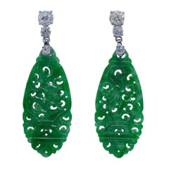 Two Large Old-Mine 3.20 Carat Platinum Diamond Jade Earrings