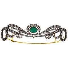 Early 20th Century Emerald and Diamond Tiara