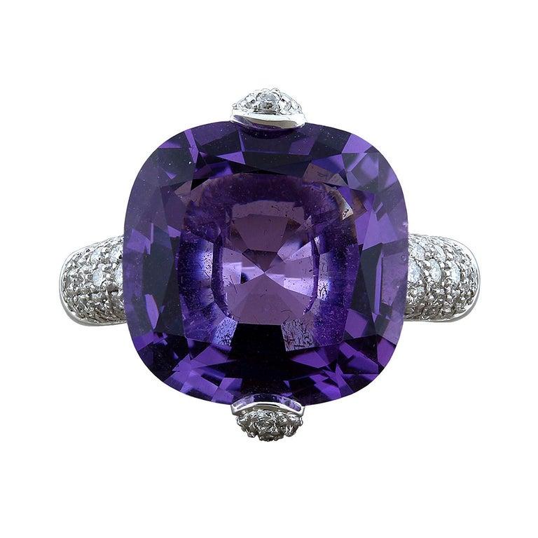 Modern Amethyst Diamond Gold Ring