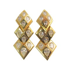Susan Berman 18 Karat Yellow Gold Flexible Pear Shape Diamond Drop Earrings
