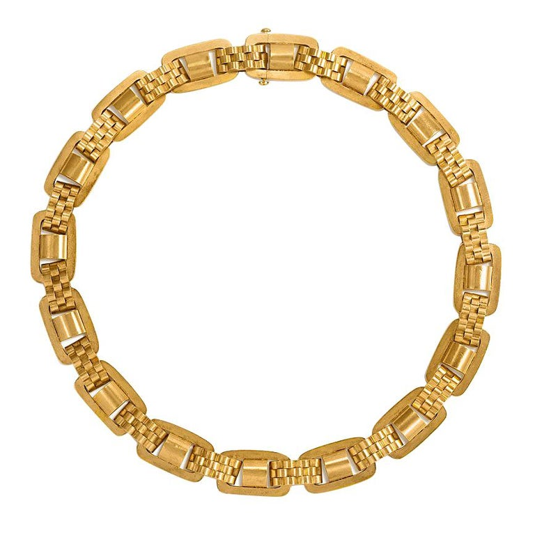 Victorian Gold Oblong Link Collar Necklace