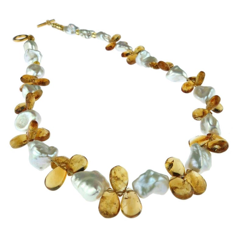 Pearl and Citrine Briolette Necklace