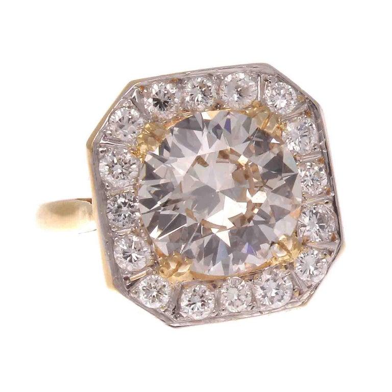 French Art Deco 3.05 Carat Diamond Platinum Gold Engagement Ring