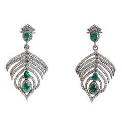 Emerald and Diamond Feather Earrings
