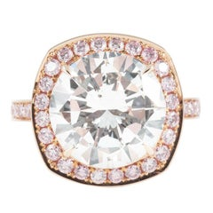 18K Rose Gold 5ct Brilliant Cut Diamond With Natural Fancy Pink Diamond Halo