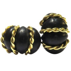 Seaman Schepps Gold Carved Ebony Wood Twisted Rope Shrimp Earclips