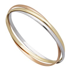 Cartier 18 Karat Yellow, White and Rose Gold Trinity Bangle