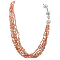 Peach Fresh Water Pearls Amethysts Smoky Quartz 14 KY Gold Multi Strand Necklace