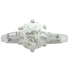 1920s 2.04 Carat Diamond and White Gold Solitaire Engagement Ring