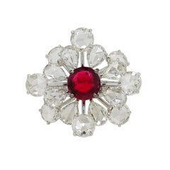 V.A.K Jewels SSEF Certified Natural Dark Red Burma Spinel and Diamond Ring