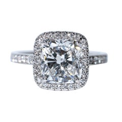 Cushion Diamond Halo Engagement Ring 3.00 Carat Center, GIA E VS2