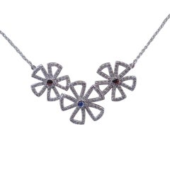 18 Karat Gold Flower Necklace with 1.12 Carat of Diamond, Botanical Collection