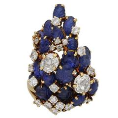 Marchak Carved Sapphire and Diamond Cocktail Ring