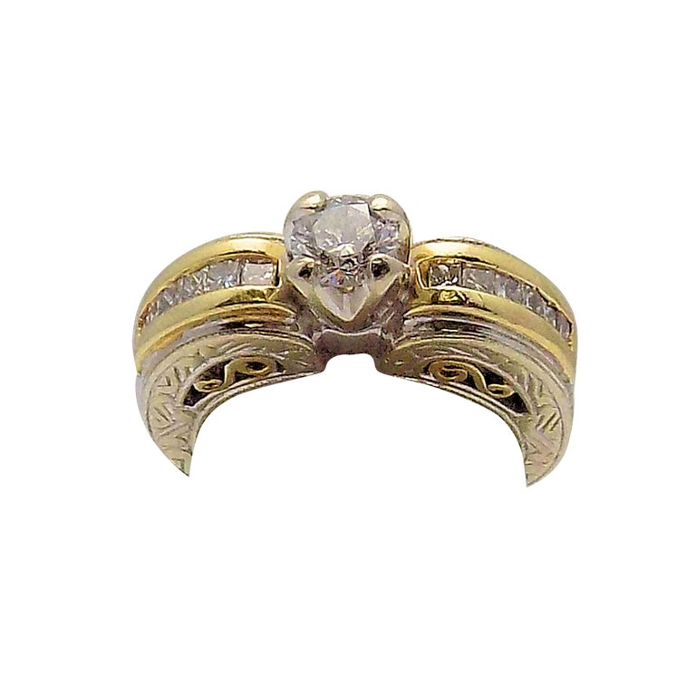 White Gold/Yellow Gold Cathedral Diamond Engagement Ring For Sale