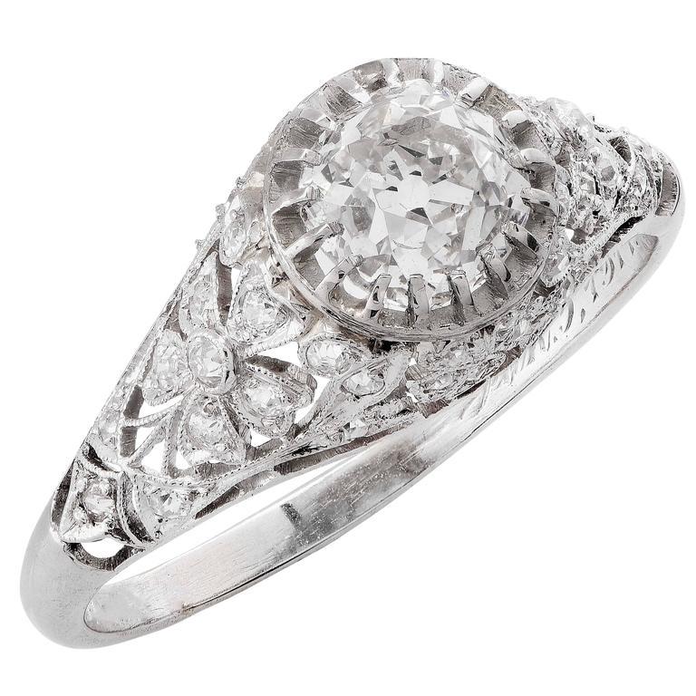Edwardian 1.31 Carat GIA Certified Mine Cut Diamond Platinum Engagement Ring