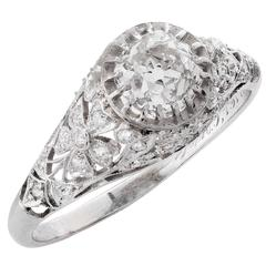 Edwardian 1.31 Carat GIA Certified Mine Cut Diamond Platinum Engagement Ring
