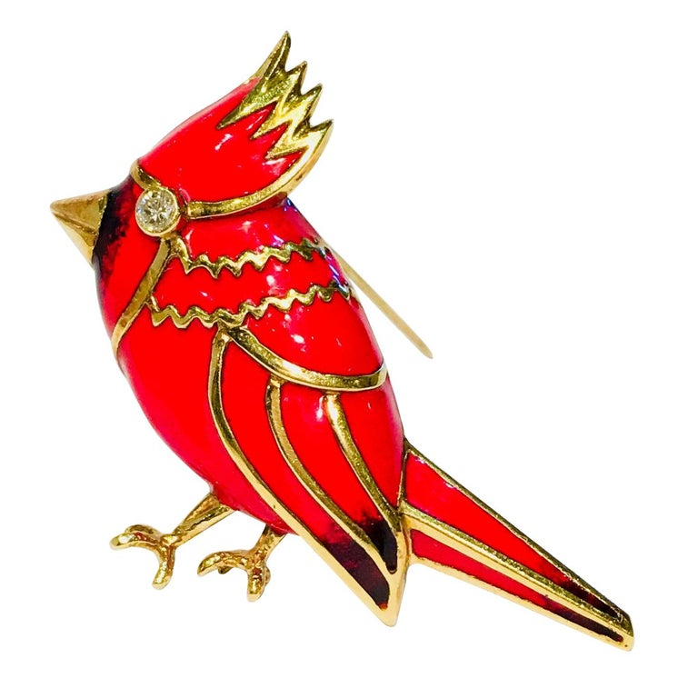 18 Karat Yellow Gold Red Enamel Diamond Cardinal Bird Brooch For Sale