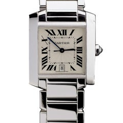 Cartier white Gold Tank Francaise Automatic Wristwatch Ref 2366