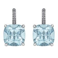 Cushion Cut Medium Size Light Blue Topaz Diamond Platinum Drop Earrings