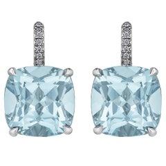 Asscher Cut Large Size Light Blue Topaz Diamond Platinum Drop Earrings