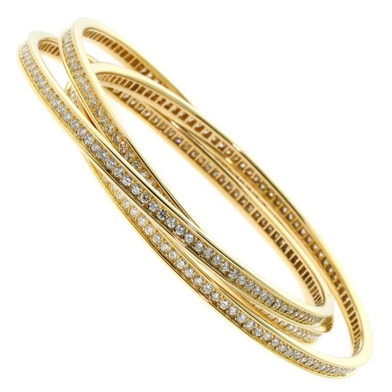 Cartier Diamond Gold Trinity Bangle Bracelet at 1stdibs