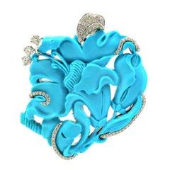 Margherita Burgener 18 Karat Gold Diamond Turquoise Pendant Brooch
