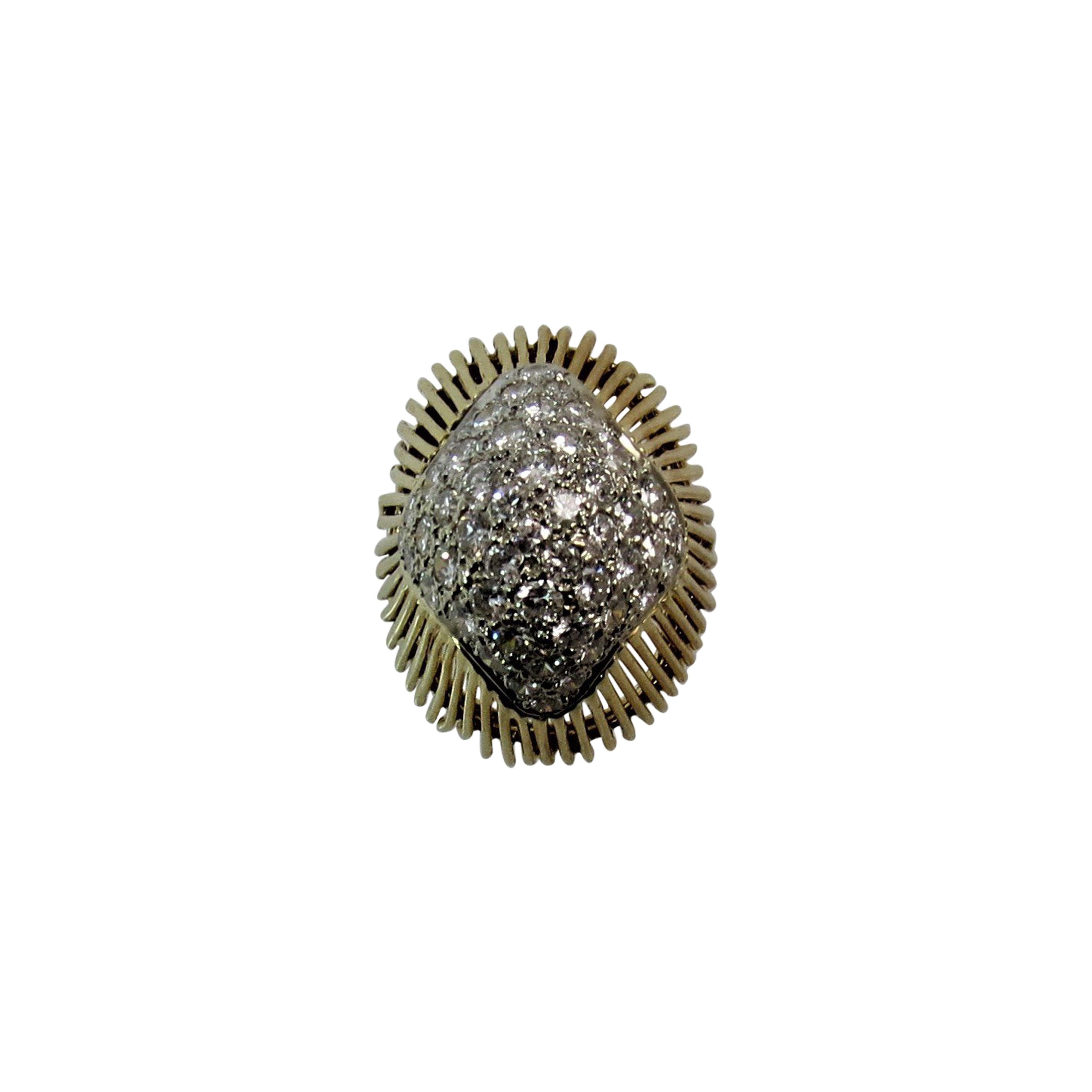 18 Karat Yellow Gold Diamond Dome Ring