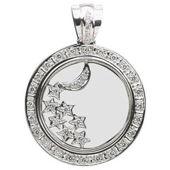 White Gold 0.75 Carat Diamond Floating Moon and Stars Pendant Enhancer
