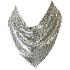Vintage 1970s Whiting & Davis Silver Chainmail Metal Mesh Disco Necklace